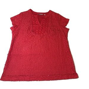 Isaac Mizrahi live coral crocheted top size 1X